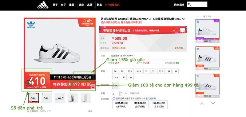 Cách tính giá một sản phẩm giày Adidas đang trong dịp sale